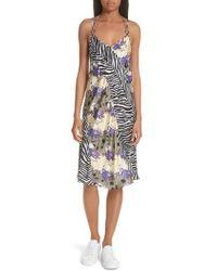 Opening Ceremony - Floral & Zebra Print Silk Slipdress - Lyst