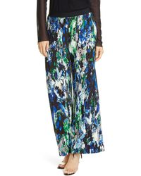 Fuzzi Floral Print Pleated Wide Leg Pants - Black