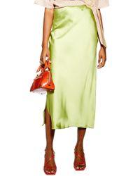 TOPSHOP Split Side Bias Midi Skirt - Green