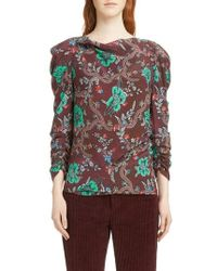 Isabel Marant - Floral Print Ruched Sleeve Blouse - Lyst