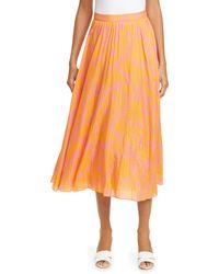 Tanya Taylor Jeana Floral Pleated Midi Skirt - Orange