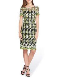 Tahari - Floral Embroidery Sheath Dress - Lyst