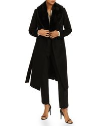Reiss Pacey Wrap Coat With Faux Fur Collar - Black