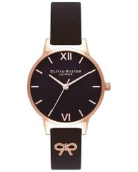 Olivia Burton - Vintage Bow Leather Strap Watch - Lyst