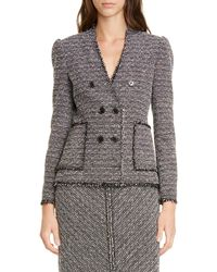TAILORED BY REBECCA TAYLOR Cotton Blend Tweed Jacket - Black