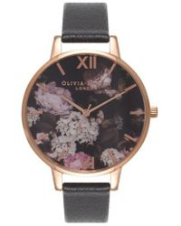 Olivia Burton - Signature Florals Leather Strap Watch - Lyst