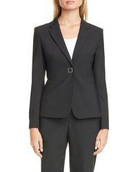 BOSS Julea Pinstripe Suit Jacket - Black