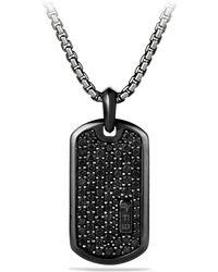 David Yurman - Pave Tag With Black Diamonds And Black Titanium - Lyst