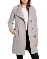 Kenneth Cole Wool Blend Bouclé Coat - Black