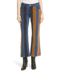 See By Chloé - Striped Flare Trousers - Lyst
