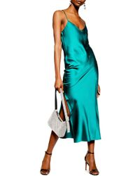 TOPSHOP - Plain Satin Slipdress - Lyst