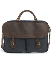 Barbour Wax Leather Briefcase - Blue