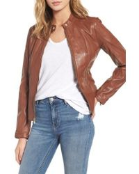 Guess | Collarless Leather Moto Jacket | Lyst