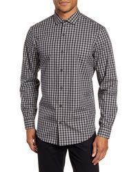 Calibrate Modern Fit Check Non-iron Button-up Shirt - Gray