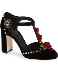 Dolce & Gabbana - Embroidered T-straps Pumps - Lyst