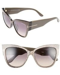Tom Ford - Anoushka 57mm Special Fit Butterfly Sunglasses - Dove Grey/ Grey Gradient Sand - Lyst