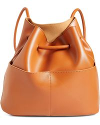 BP. Faux Leather Drawstring Backpack - Brown