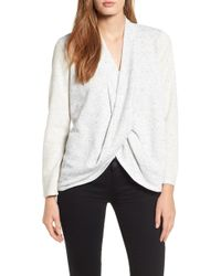 Chaus - Speckled Drape Front Terry Top - Lyst