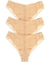 Felina Finesse Lace 3-pack High Cut Brazilian Panties, Beige - Natural