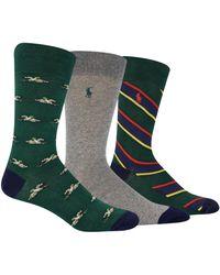 Polo Ralph Lauren - 3-pack Socks, Green - Lyst