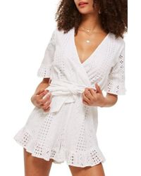 TOPSHOP - Broderie Anglaise Wrap Front Romper - Lyst