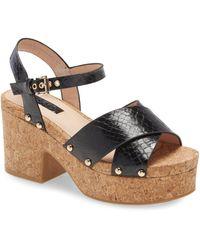 TOPSHOP Dancer Black Cork Platform Heels