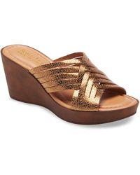 Bella Vita Cat Wedge Slide Sandal - Brown