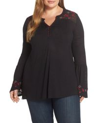 Lucky Brand - Embroidered Yoke Top - Lyst