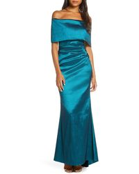 Vince Camuto Off The Shoulder Taffeta Gown - Blue