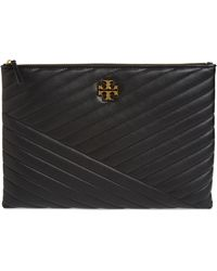 Tory Burch Quilted Leather Pouch - Black