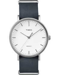 Timex - Timex Fairfield Leather Strap Watch - Lyst