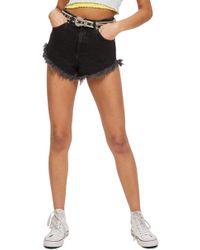 TOPSHOP Kiri Moto Fray Hem Shorts - Black