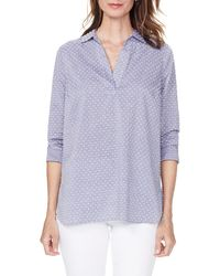 NYDJ Swiss Dot Split Neck Cotton Top - Blue