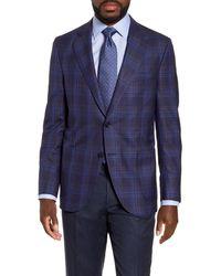 Peter Millar Hyperlight Classic Fit Plaid Wool Blend Sport Coat - Blue