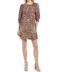 Rebecca Minkoff Vera Leopard Print Linen Blend Shift Dress - Brown