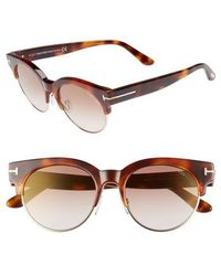 Tom Ford Henri 52mm Semi-rimless Sunglasses - Blonde Havana/ Brown Mirror