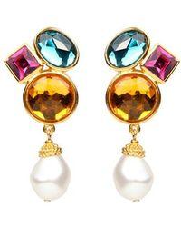 Ben-Amun - Multicolor Crystal & Imitation Pearl Clip Earrings - Lyst