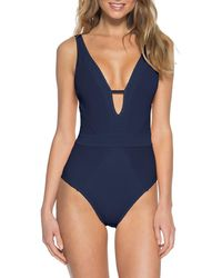 Becca Loredo Rib One-piece Swimsuit - Blue