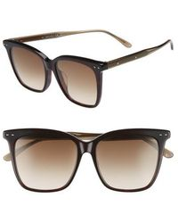 Bottega Veneta - 54mm Square Sunglasses - Avana Brown - Lyst