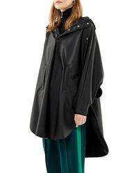 Rains Waterproof Hooded Rain Poncho - Black