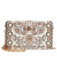 Tory Burch - Hicks Garden Party Leather Wallet On A Chain - Lyst