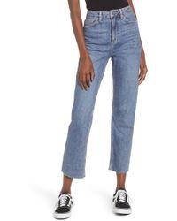 TOPSHOP High Waist Raw Hem Jeans - Blue