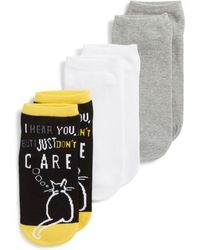 Hue - Cat Don't Care Footsie 3-pack Socks, Black - Lyst