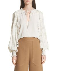See By Chloé - Eyelet Sleeve Blouse - Lyst