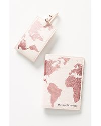 Anthropologie Luggage Tag & Passport Cover Set - - Pink