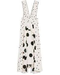 TOPSHOP - Mix Spotted Pinafore Midi Dress - Lyst