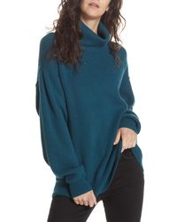 Free People Softly Structured Knit Tunic - Blue