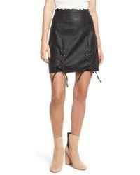 Lost + Wander Lost + Wander Dakota Lace Up Faux Leather Skirt - Black