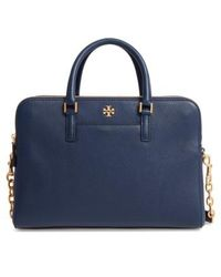 Tory Burch - Georgia Double Zip Pebbled Leather Satchel - Lyst