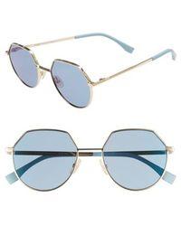 8917b3a48fc3 Lyst - Fendi Round Patterned Sunglasses in Blue for Men